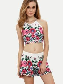 Multicolor Floral Halter Crop Top With Shorts