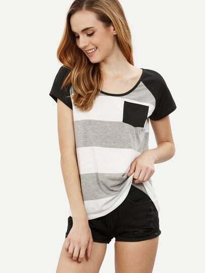 Multicolor Striped Short Sleeve T-shirt