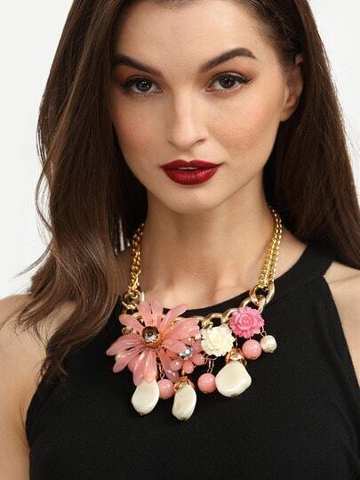 Ethnic Flower Beads Chain Statement Necklace