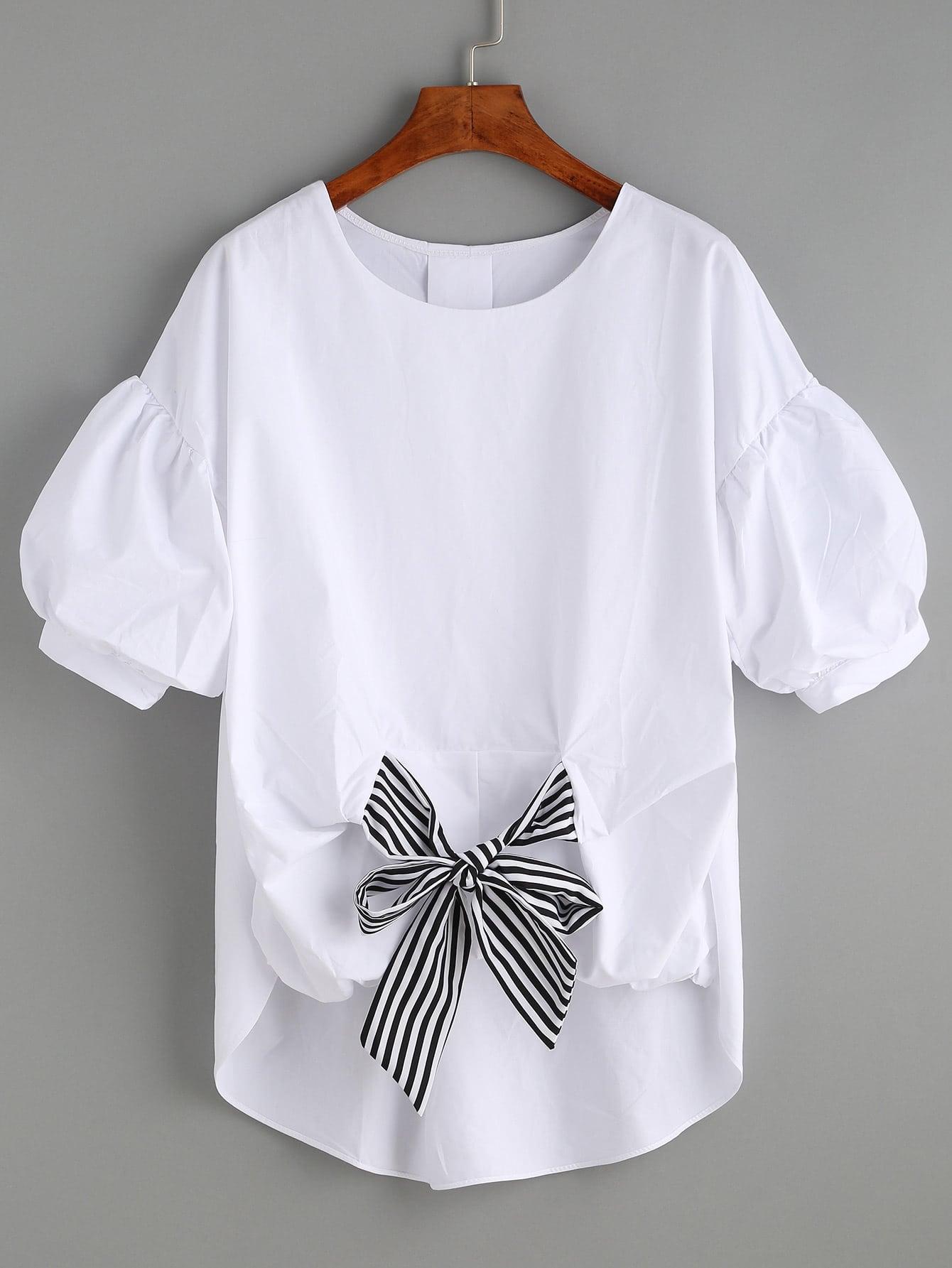 Self-tie Front Puff Sleeve Blouse petal sleeve self tie blouse