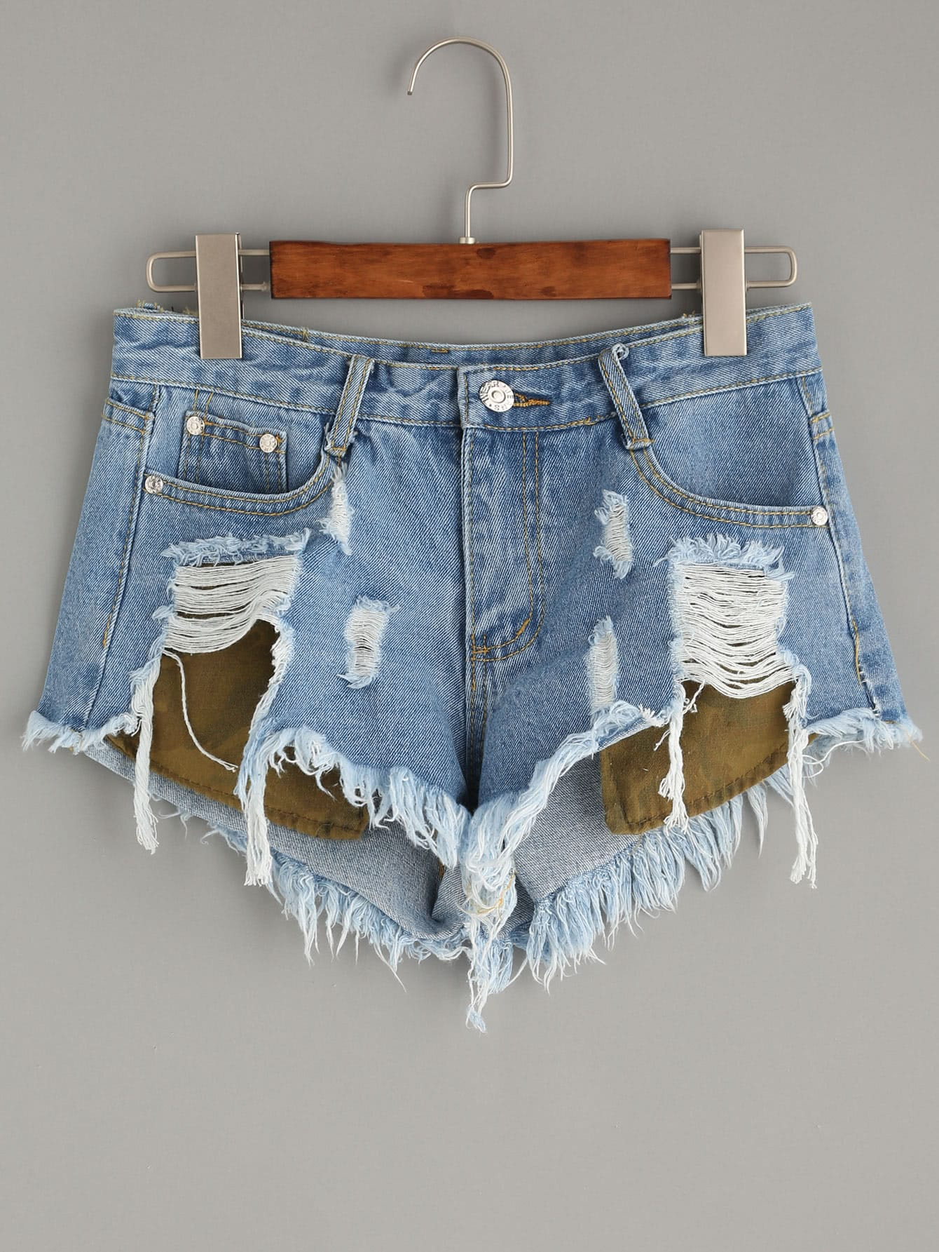 Blue Ripped Denim Shorts With Stick Out Pockets -SheIn(Sheinside)