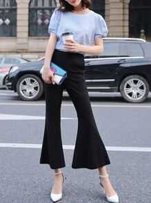 Black Mid Waist Flared Pants