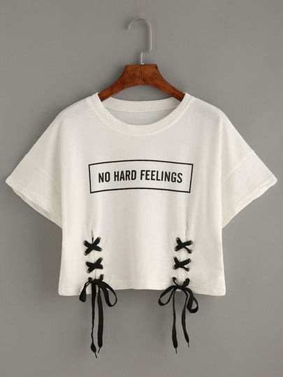 T-Shirt Crop Stampa Lettere In Pizzo - Bianco