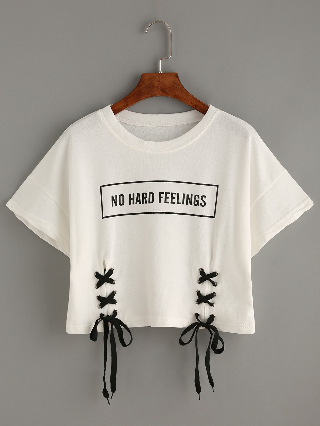 Letter Print Lace-up Crop T-shirt letter and gesture print t shirt