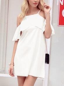 White Ruffled Cold Shoulder Dress
