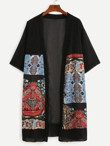 Black Vintage Print Chiffon Kimono
