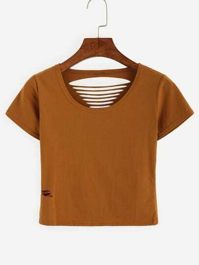 Brown Ripped Crop T-shirt