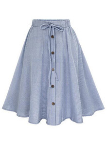 Vertical Striped Buttoned Front Skirt