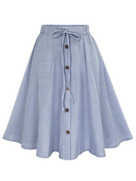 Vertical Striped Buttoned Front Skirt buttoned split front skirt