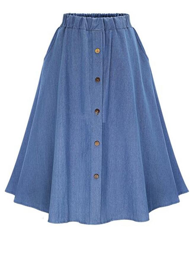 Elastic Waist Denim Tea Skirt With Buttons
