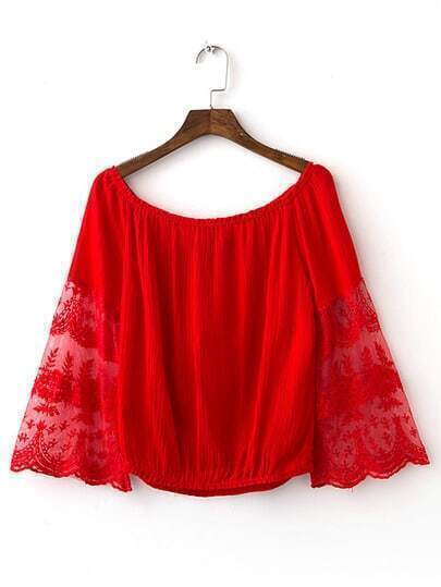 Red Bell Sleeve Off The Shoulder Smock Blouse