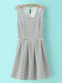 Black And White Stripe Key-hole Skater Dress