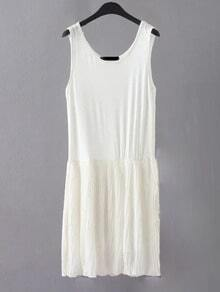 White Sleeveless Pleated Shift Plain Dress