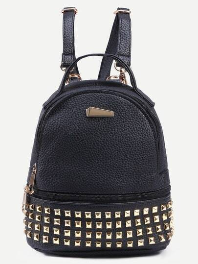 Black Pebbled Faux Leather Studded Backpack
