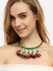 Ethnic Embroidered Trumpet Flower Necklace