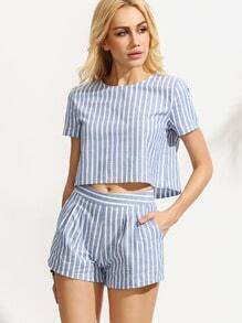 Blue Striped Short Sleeve Top With Shorts Suits