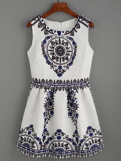 White Vintage Print Pleated Fit and Flare Dress