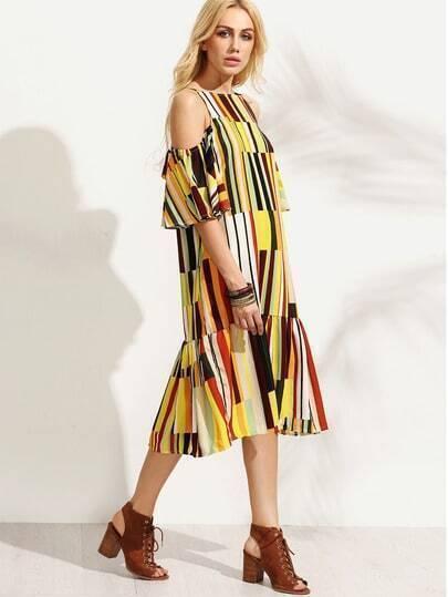 Multicolor Vertical Stripe Print Ruffled Cold Shoulder Dress