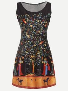 Black Painting Print A Line Dress