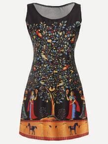Black Painting Print A Line Dress