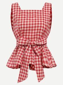 Red Checkerboard Self Tie Peplum Top