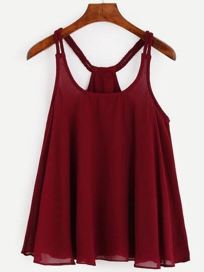 Burgundy Racerback Braided Strap Top