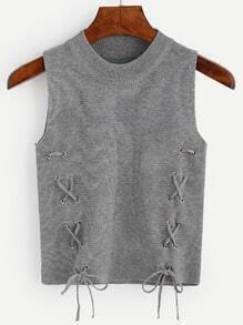 Grey Lace Up Knit Sleeveless Top
