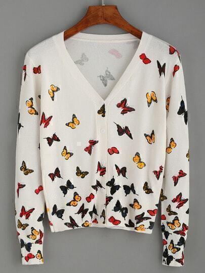 Cárdigan mariposa estampada escote V - blanco