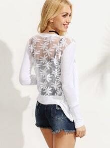 White Embroidered Mesh Back Cardigan