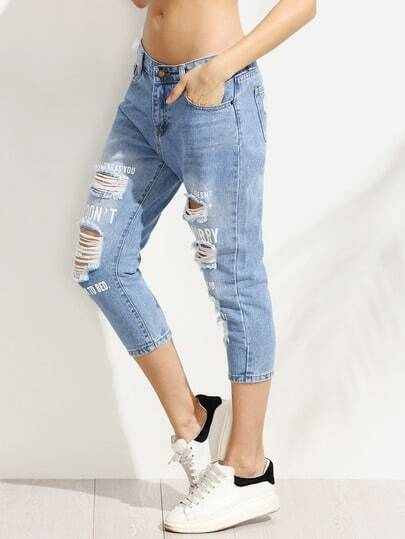 Blue Ripped Letter Print 3/4 Length Jeans