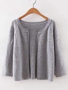 Grey Collarless Wave Cardigan Knitwear