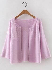 Pink Collarless Wave Cardigan Knitwear