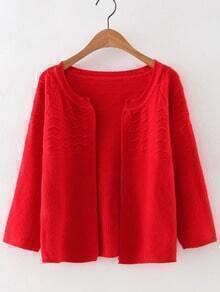 Red Collarless Wave Cardigan Knitwear