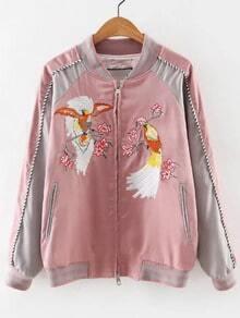 Pink Rib-knit Cuff Embroidery Zipper Jacket