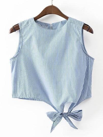 Blue Stripe Key-hole Bow Tie Sleeveless Blouse