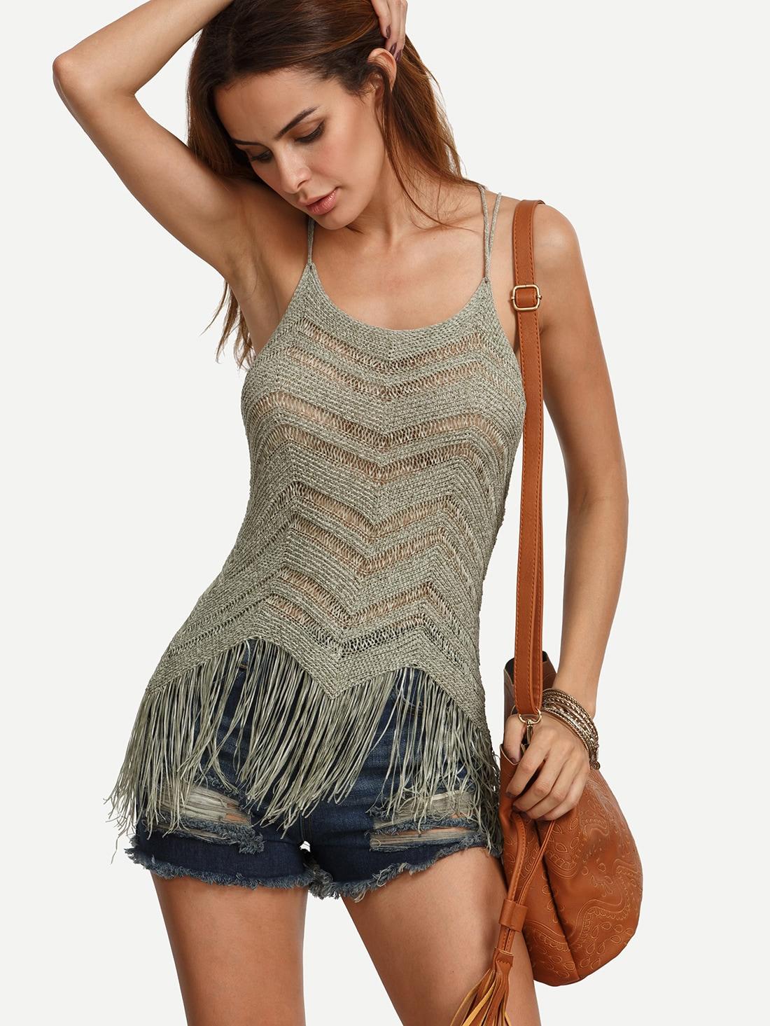 Fringe Hem Knitted Cami Top