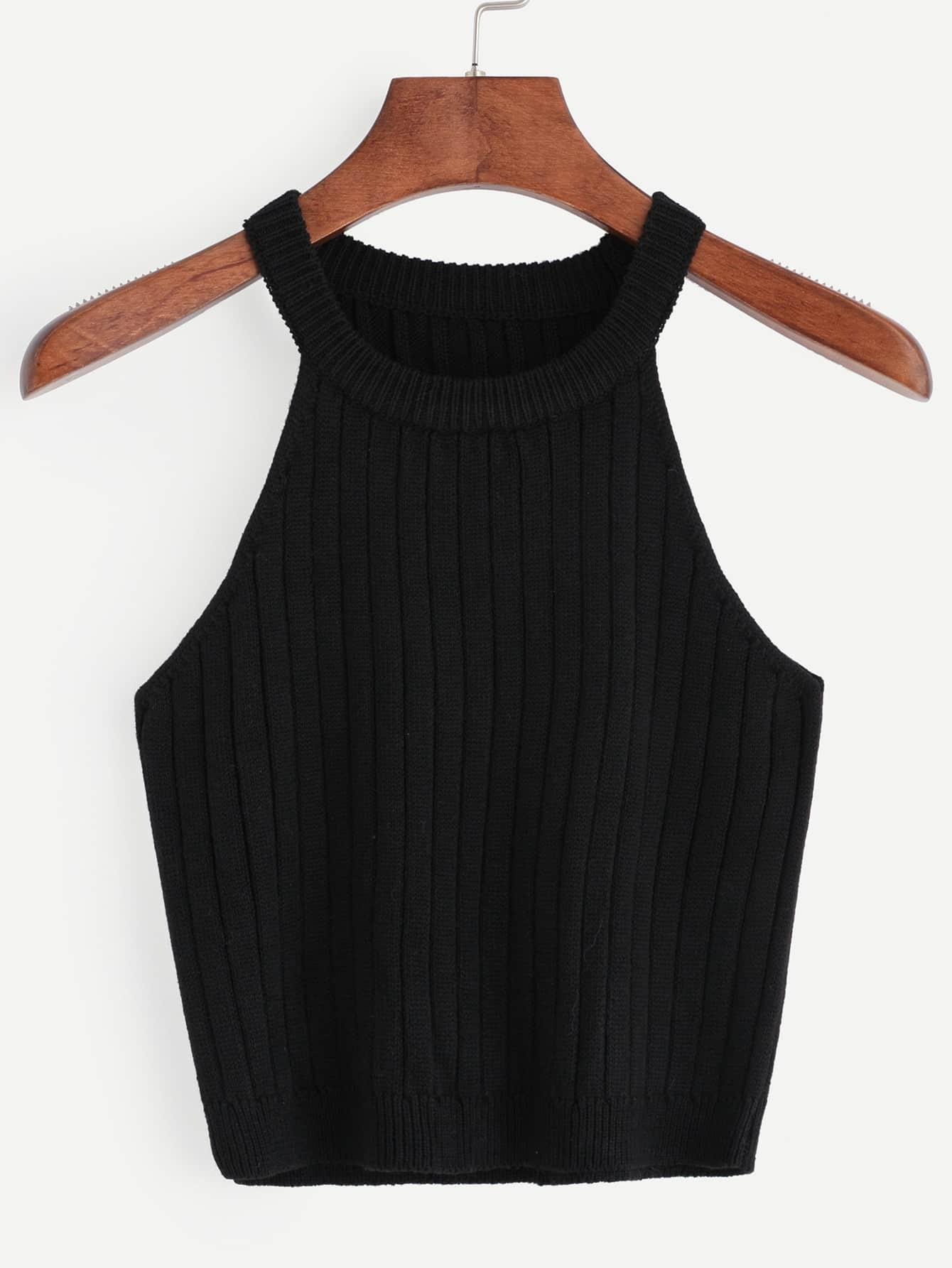 Black Knitted Tank TopBlack Knitted Tank Top<br><br>color: Black<br>size: one-size