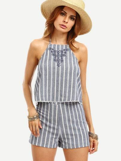 Grey Striped Embroidered Backless Tank Top With Shorts