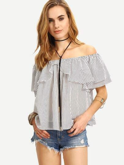 Black and White Striped Ruffle Off The Shoulder Blouse