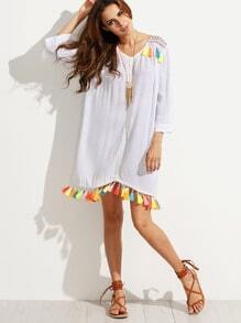 White Embroidered Tassel Trim Shift Dress