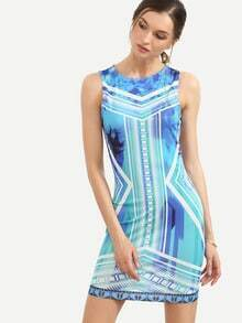 Multicolor Print Sleeveless Bodycon Dress