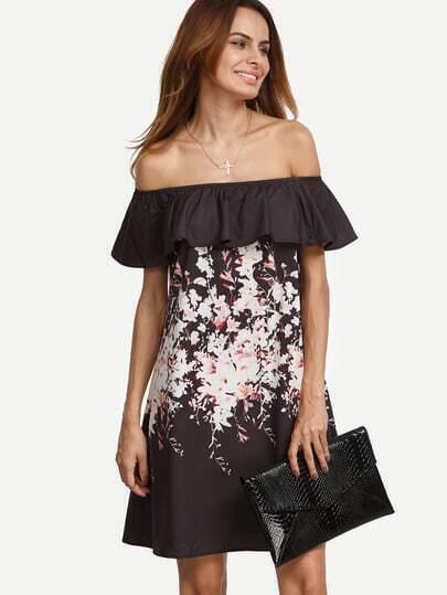 Multicolor Floral Ruffle Off The Shoulder Dress