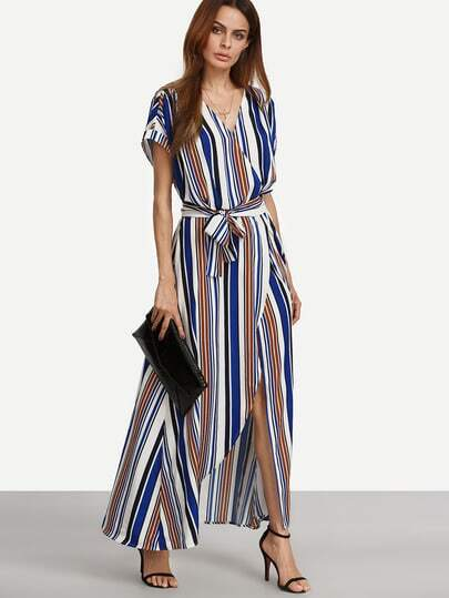 Multicolor Striped V Neck Tie Waist Split Maxi Dress