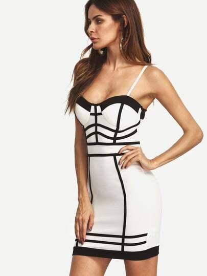 Contrast Binding Spaghetti Strap Bustier Dress