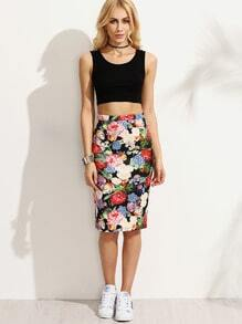 Multicolor Floral Skinny Skirt