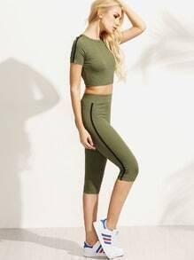 Army Green Short Sleeve Crop T-shirt With Capri Pants