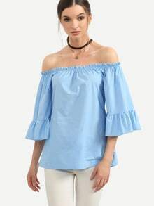 Blue Ruffled Off The Shoulder Blouse