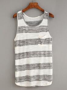 Grey White Striped Knitted Racerback Tank Top