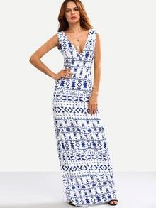White Tribal Print Double V Neck Maxi Dress