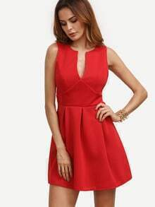 Red V Notch Box Pleat Skater Dress